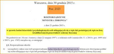Najnowsze rozporządzenie o badaniach lekarskich i psychotestach do ochrony