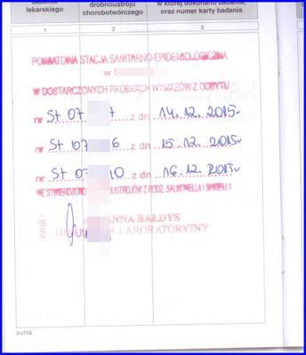 Wynik trzykrotnego badania kału w Sanepidzie