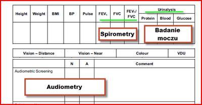 Zakres badań do OGUK, mocz, audiometria, spirometria.