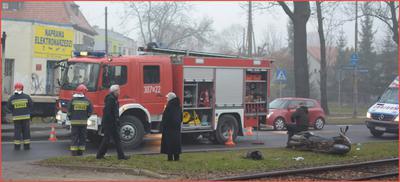Wypadek komunikacyjny motocyklowy we Wrocławiu