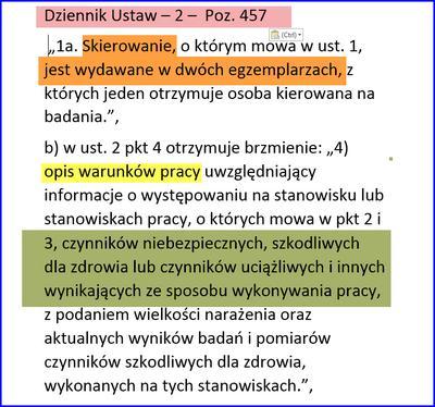 Obowiązek wydania dwóch egzemplarzy skierowania na badania okresowe