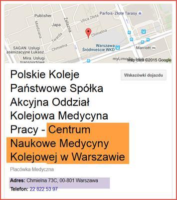 Adres Centrum Naukowe Medycyny Kolejowej w Warszawie