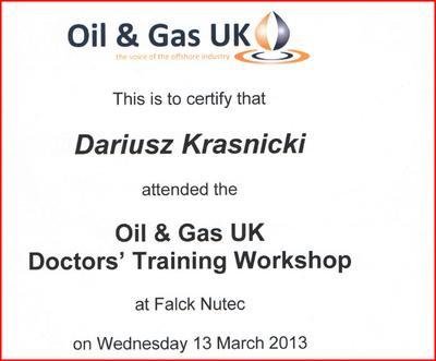Badania pracowników platform dla UK Gas&Oil