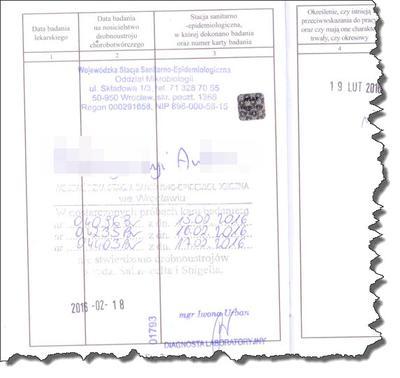 Wyniki badania kału w książeczce sanepidowskiej