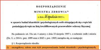 Nowe rozporządzenie o badaniach lekarskich i psychologicznych ochrony