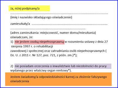 Oświadczenie składane podczas badań lekarskich na pracownika ochrony