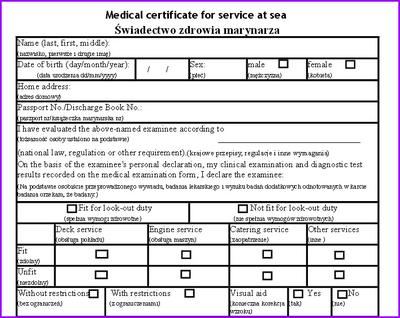 Medical Certificate for Service at Sea