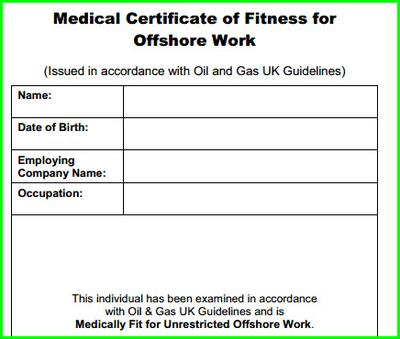 Medical Certificate of Fitness for Offshore Work