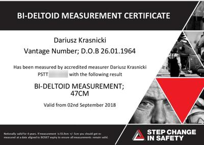 Certyfikat Bi-Deltoid Shoulder Measurement we Wrocławiu