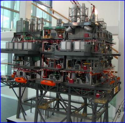 Model platformy wiertniczej na Morzu Północnym